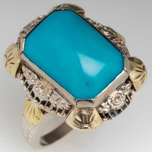 Antique Turquoise Cocktail Ring 14k White Gold