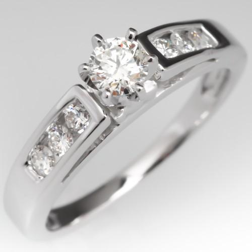Round Brilliant Diamond Engagement Ring w/ Accents 14K