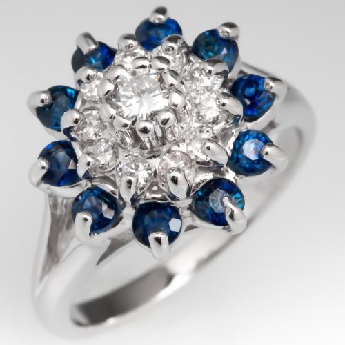 Diamond Sapphire Starburst Cocktail Ring 14K White Gold