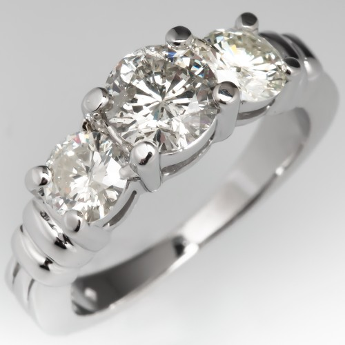 Platinum Three Stone Round Brilliant Diamond Engagement Ring
