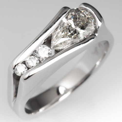 Unique Pear Diamond Channel Ring 14K White Gold