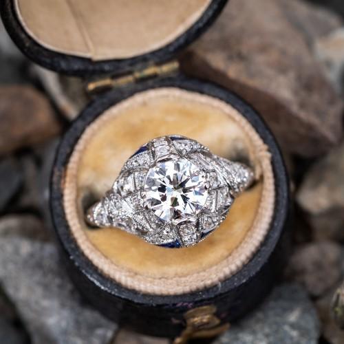 Art Deco Diamond Engagement Ring w/ Sapphire Accents Platinum