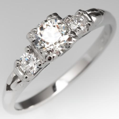 1/2 Carat Vintage Old European Cut Diamond Engagement Ring w/ Accents