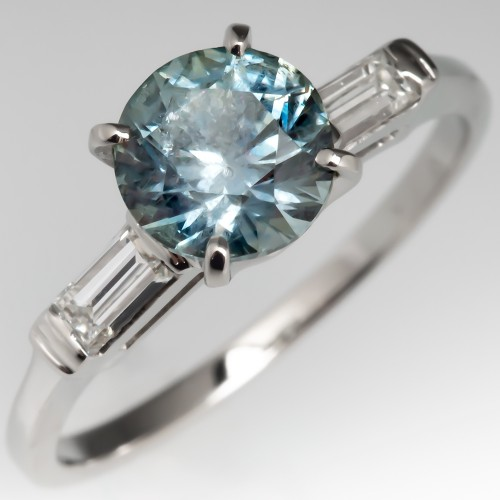 1.7 Carat No Heat Montana Sapphire Engagement Ring 14K