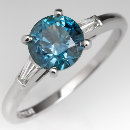 1.5 Carat Montana Sapphire Engagement Ring w/ Tapered Baguette Diamonds
