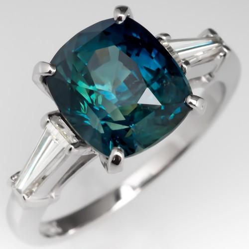 4.8 Carat Cushion Cut Teal Sapphire Engagement Ring