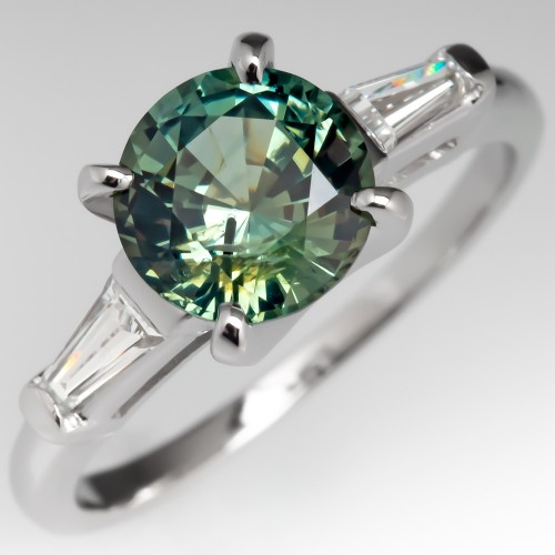 2 Carat No Heat Green Sapphire Engagement Ring w/ Tapered Baguette Diamonds