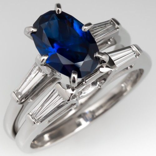 Elongated Cushiony Oval No Heat Sapphire Engagement Ring Wedding Set