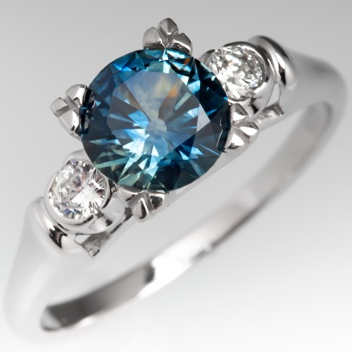 Steely Blue Green Montana Sapphire Engagement Ring w/ Accents 14K