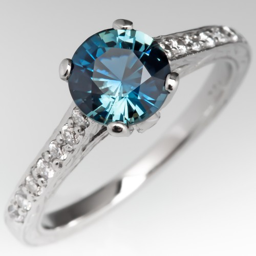 No Heat Icy Blue Green Sapphire Engagement Ring Platinum w/ Accents