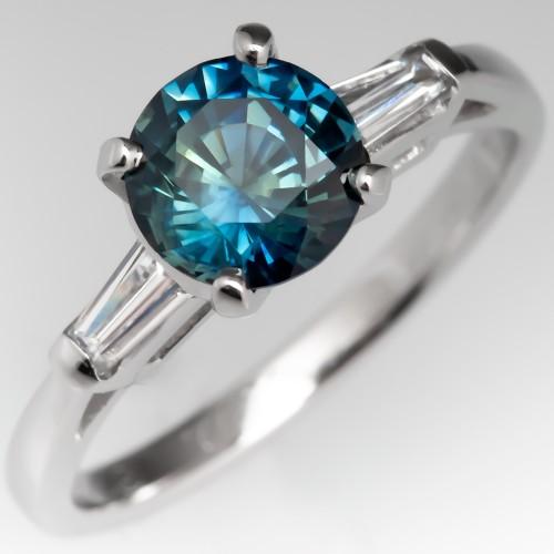 No Heat Peacock Sapphire Engagement Ring Baguette Sides Platinum