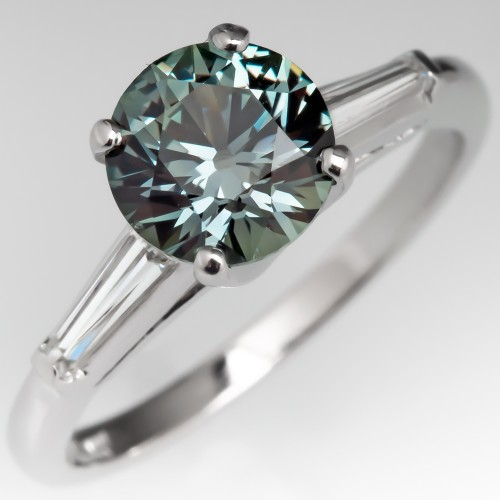 No Heat Bluish Green Montana Sapphire Ring Platinum w/ Baguettes