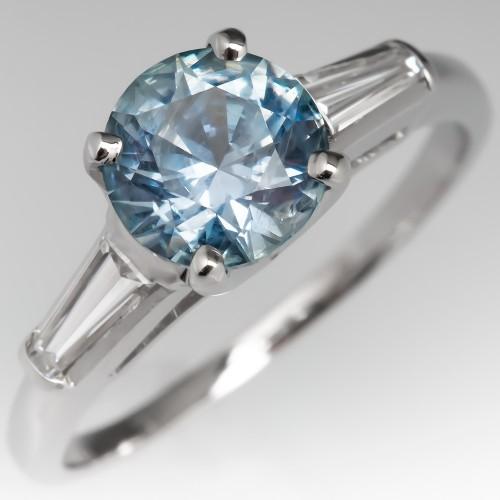 Sky Blue Montana Sapphire Engagement Ring w/ Baguettes No Heat