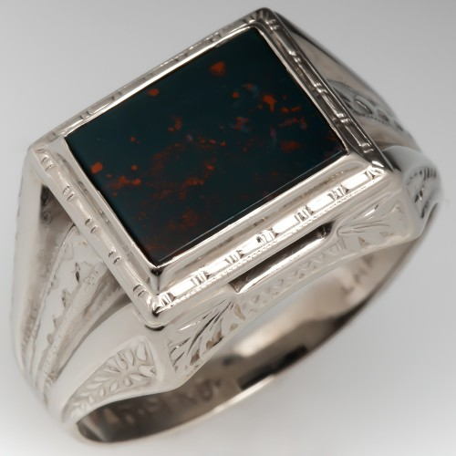 1950's Mens Bloodstone Ring with Engraved Details