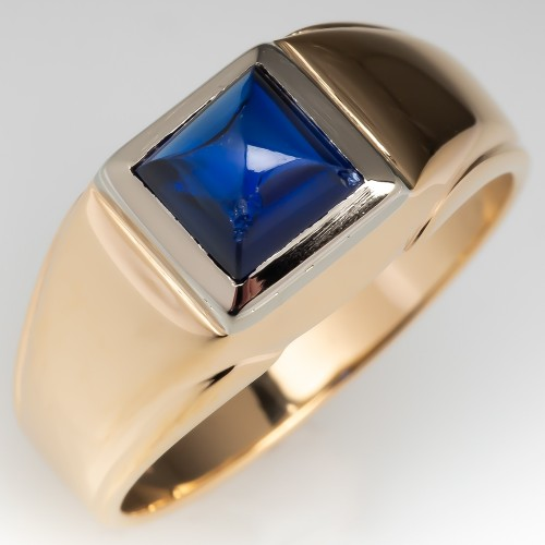 1960's Mens Ring Created Sapphire 14K Gold