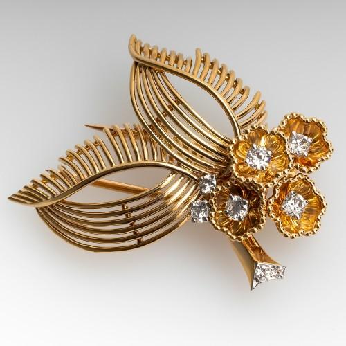 Vintage Cartier Pin Diamonds Floral 1950's