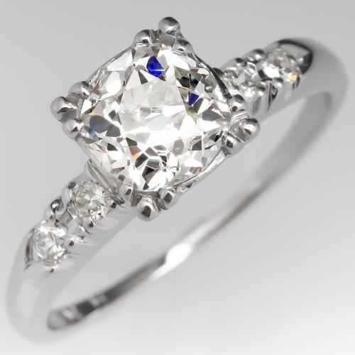 Old Mine Cut Diamond Engagement Ring Platinum w/ Accents