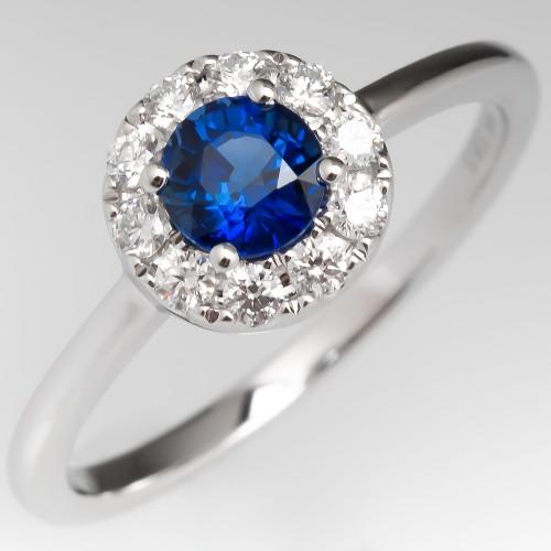 Modern Petite Sapphire & Diamond Halo Ring 14K