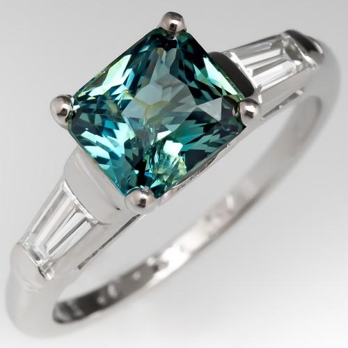 Unique No Heat Blue Green Sapphire Engagement Ring Platinum