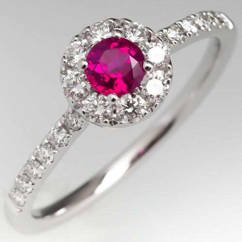 Petite Ruby Diamond Modern Halo Engagement Ring 14K