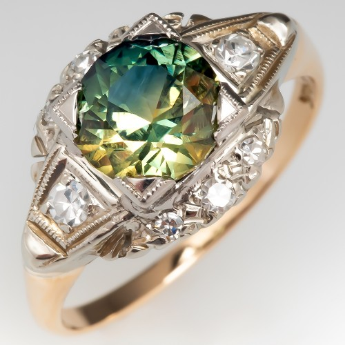 No Heat Green Sapphire Set in Vintage 14K Diamond Mounting
