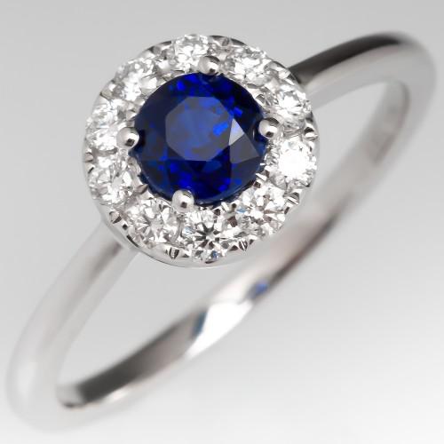 Blue Sapphire & Diamond Modern Halo Engagement Ring 14K