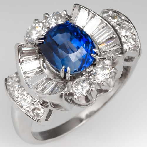 Retro Blue Sapphire & Diamond Ring Platinum