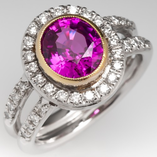 Pink Sapphire & Diamond Halo Engagement Ring 18K