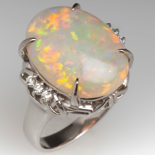 Vintage Opal Cocktail Ring w/ Diamonds in Platinum