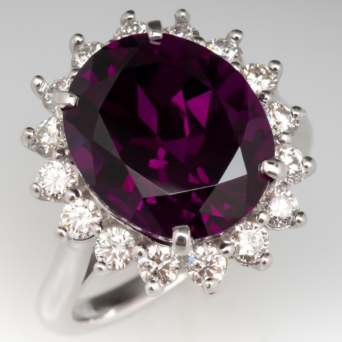 Vivid Purple Garnet Cocktail Ring Diamond Halo 14K