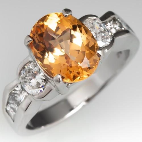 3 Carat Untreated Precious Topaz Ring w/ Diamonds in Platinum