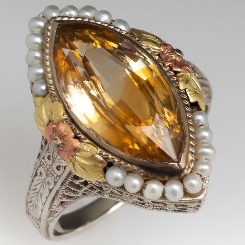 Antique Floral Marquise Ring Golden Zircon w/ Seed Pearls 14K
