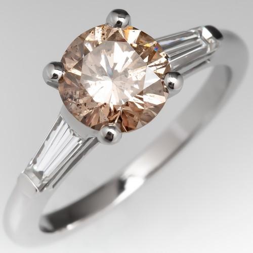 Light Champagne Diamond Engagement Ring Platinum w/ Baguettes
