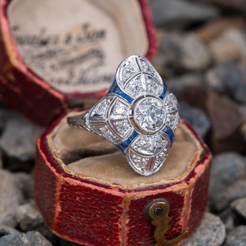 Art Deco North to South Filigree Dinner Ring Old Euro Diamond Platinum