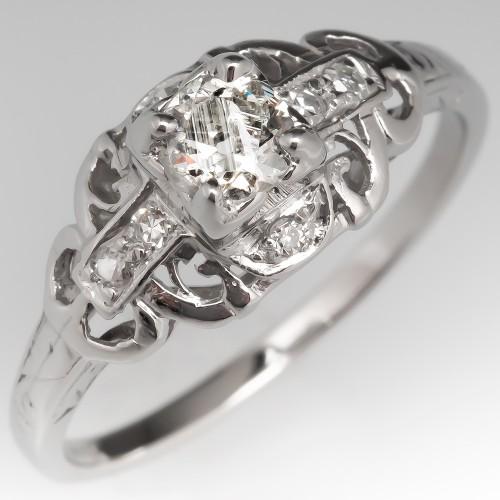Petite Antique Old Euro Diamond Engagement Ring Platinum Detailed