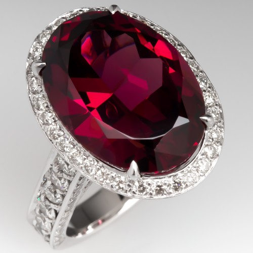 Rhodolite Garnet & Diamond Cocktail Ring 18K
