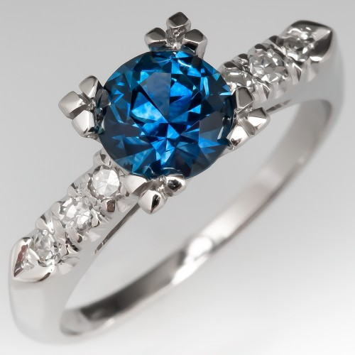 Montana Sapphire w/ Diamond Accents Platinum Engagement Ring