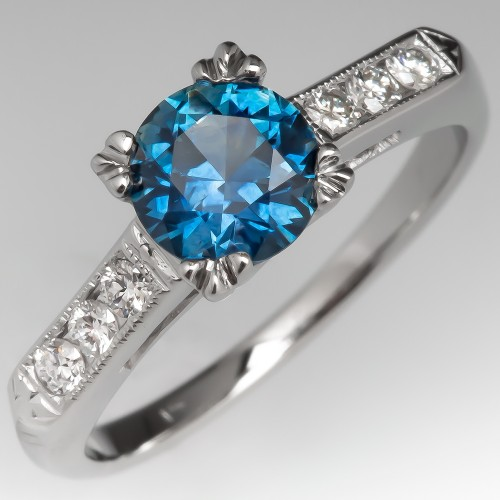 Vintage Engagement Ring Set w/ Montana Sapphire 14K