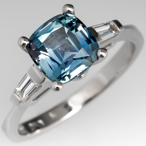 Cushion Cut Untreated Montana Sapphire Engagement Ring