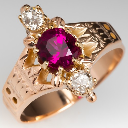 Victorian Ruby & Old Mine Cut Diamond North to South Ring 14K