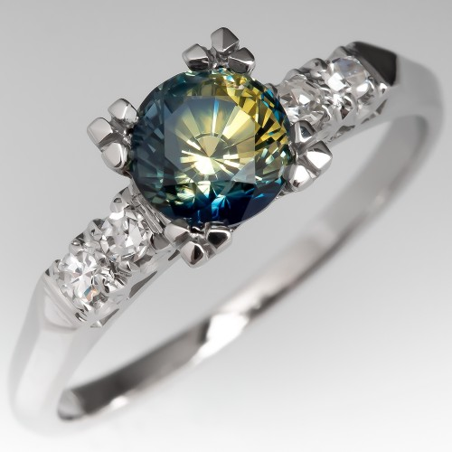 No Heat Blue & Yellow Bi-Color Sapphire Engagement Ring Platinum