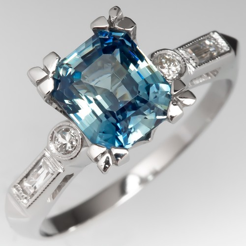 Icy Light Blue No Heat Sapphire Engagement Ring Vintage Fishtail Mounting