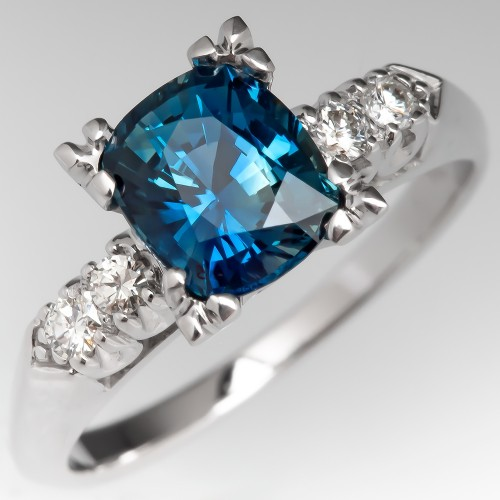 No Heat Blue Green Sapphire in Vintage Engagement Ring