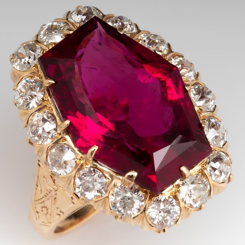 Yellow Gold Victorian Hexagonal Cut Rubellite Tourmaline Ring