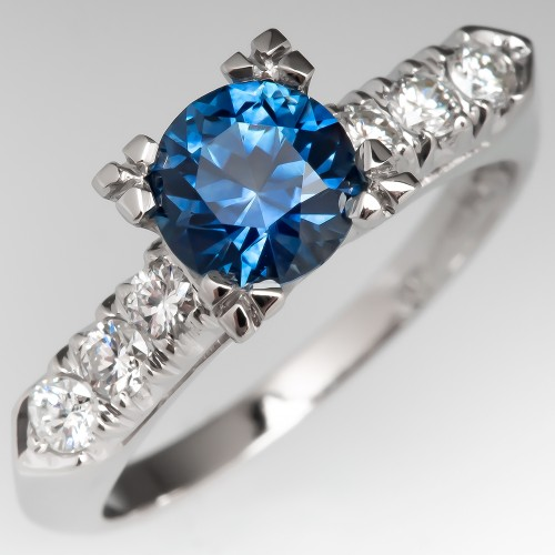 1.1 Carat Montana Sapphire Vintage Engagement Ring