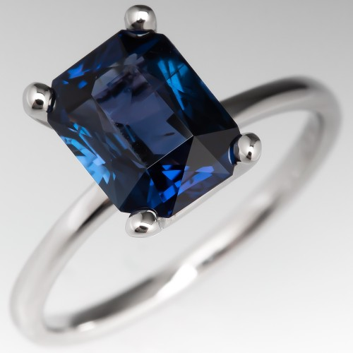 2 Carat Blue Green Sapphire Solitaire Engagement Ring