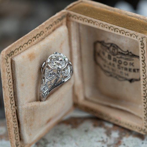 1920's Filigree Dome Ring w/ Round Brilliant Diamond