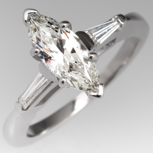 Elongated Marquise G / VS1 Diamond Vintage Engagement Ring