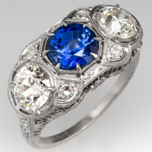 Blue Sapphire and Old European Cut Diamond Platinum Filigree Ring