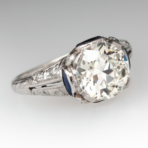 Art Deco Engagement Ring 1.7 Carat Transitional Cut Diamond